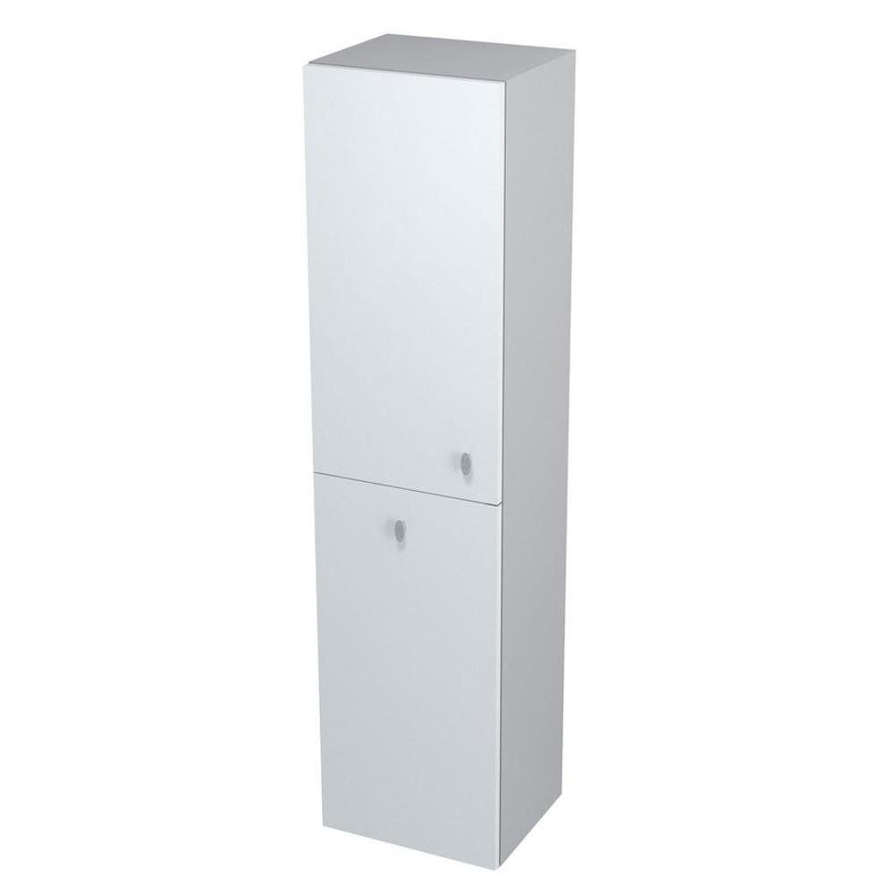AILA Hochschrank mit Wäschekorb 35x140x30cm, links, weiß/silber