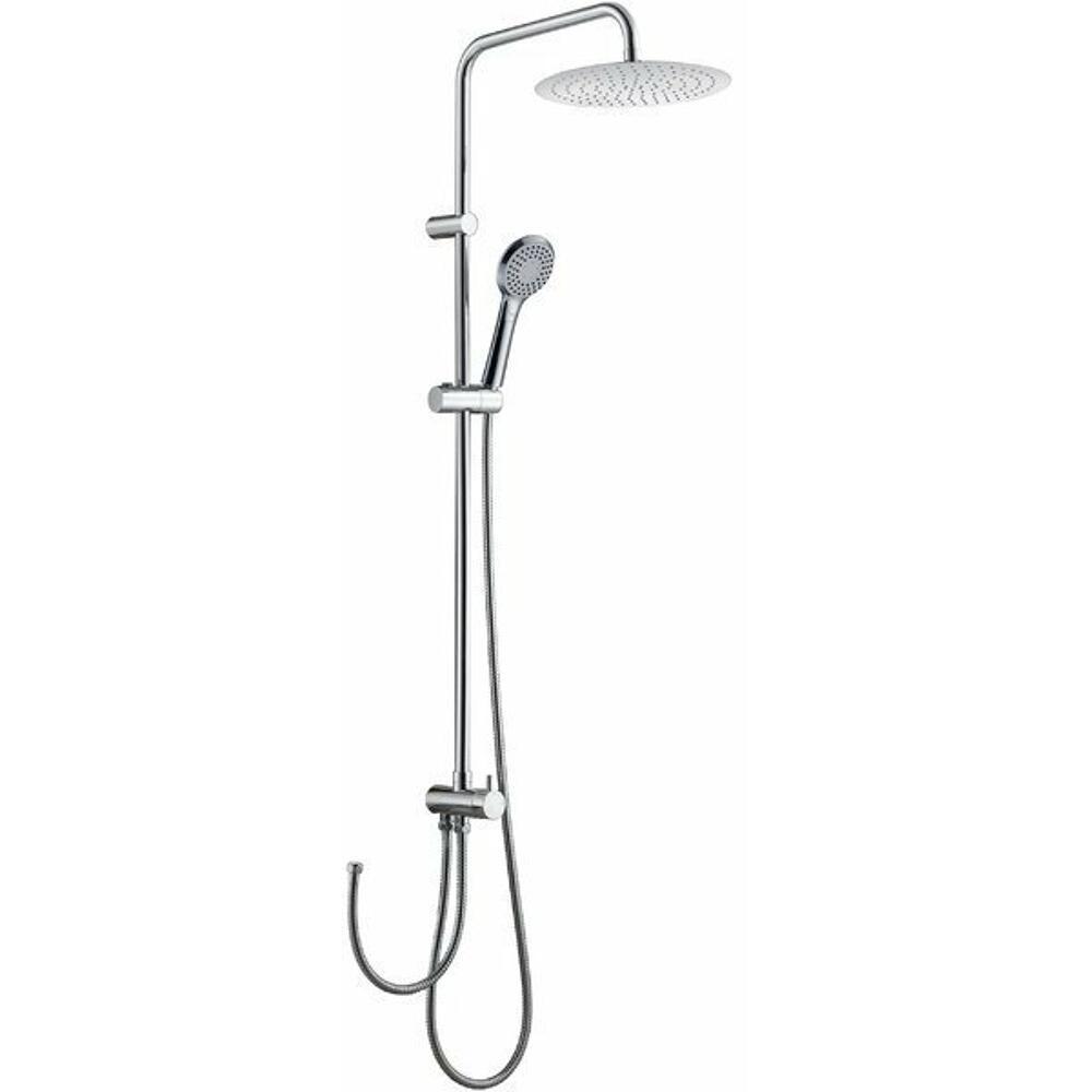Duschsäule ohne Armatur, mit Kopf- und Handbrause, rund, Chrom