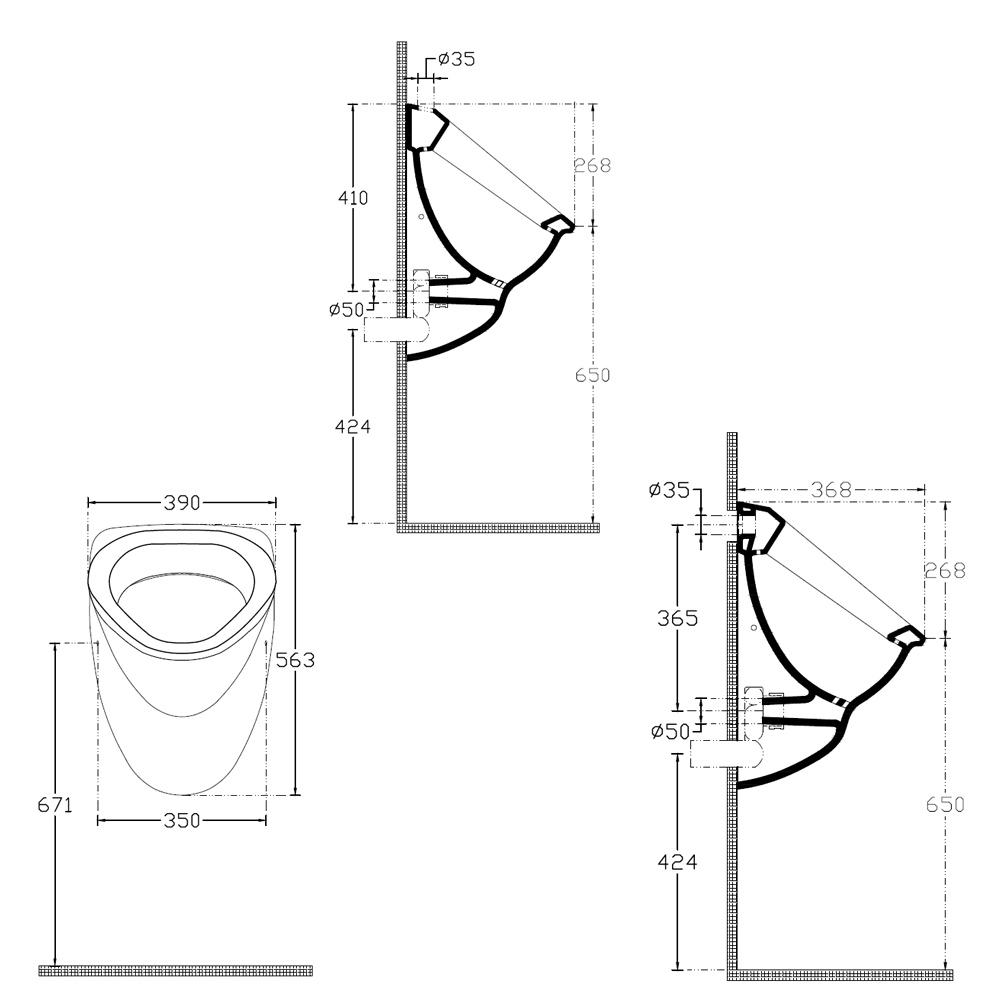 DYNASTY Urinal 39x58cm, Zulauf von Hinten, Abgang waagerecht, Siphon (10AR92001)