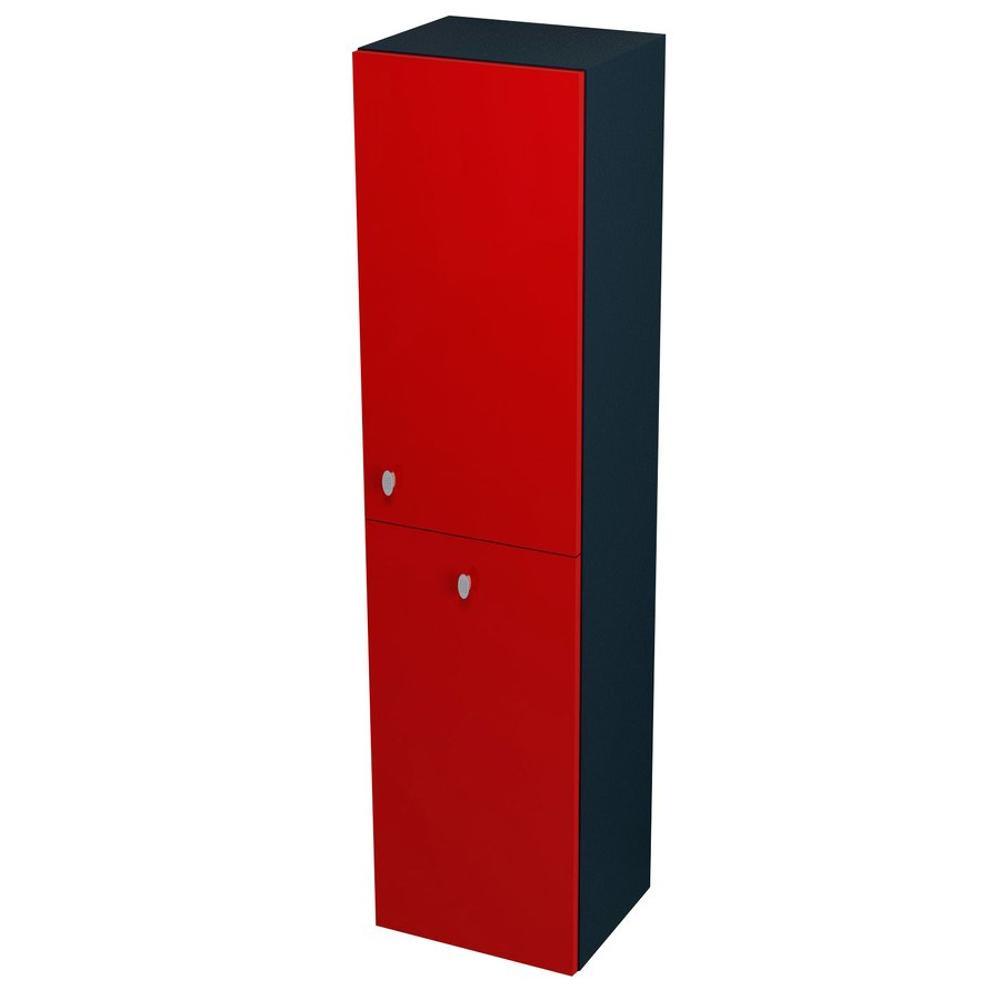 AILA Hochschrank mit Wäschekorb 35x140x30cm, rechts, rot/schwarz