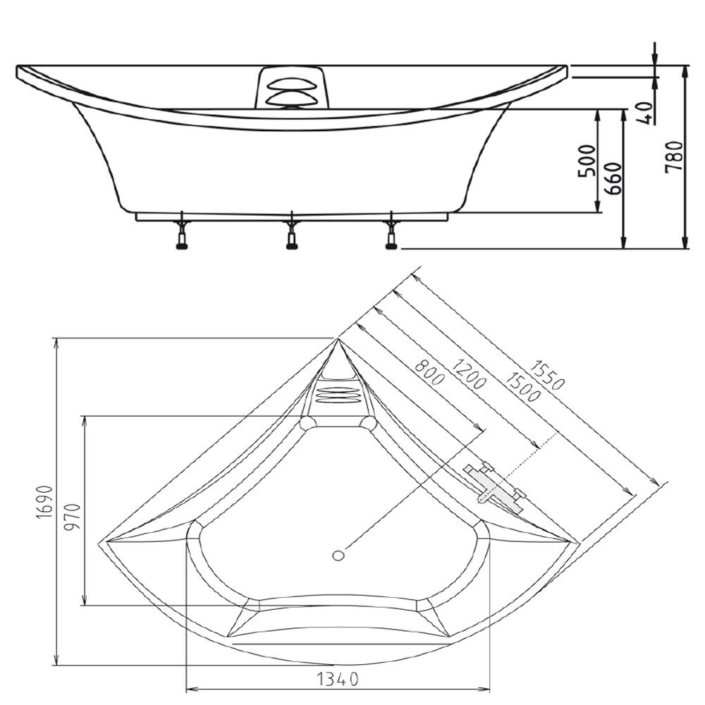 BERMUDA Eckwanne mit Rahmengestell 155x155x47cm, weiß