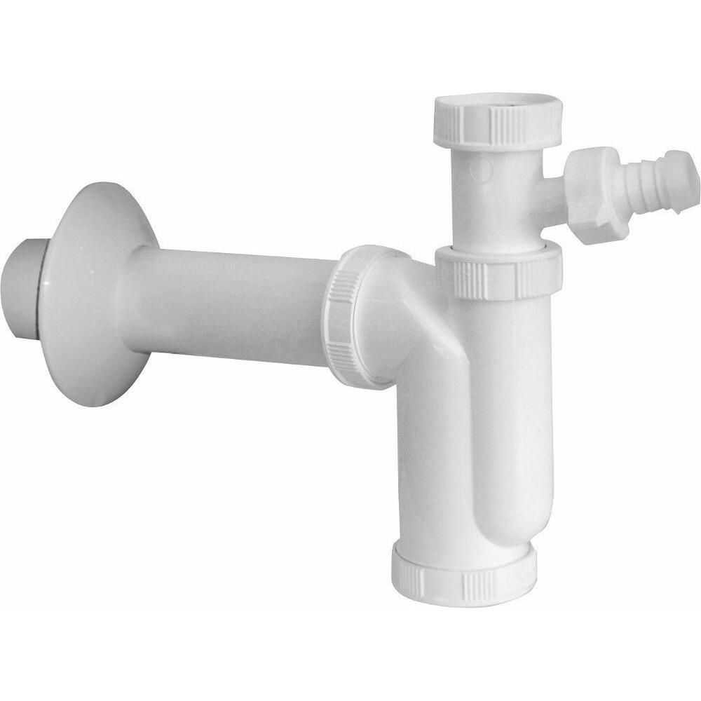 Waschtisch-Siphon 6/4' mit Überwurfmutter, Abfluss 50mm mit Abzweig, Kunstsfoff