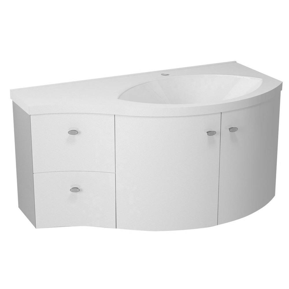 AILA Unterschrank 110x39cm, weiß/silber, Schubladen links