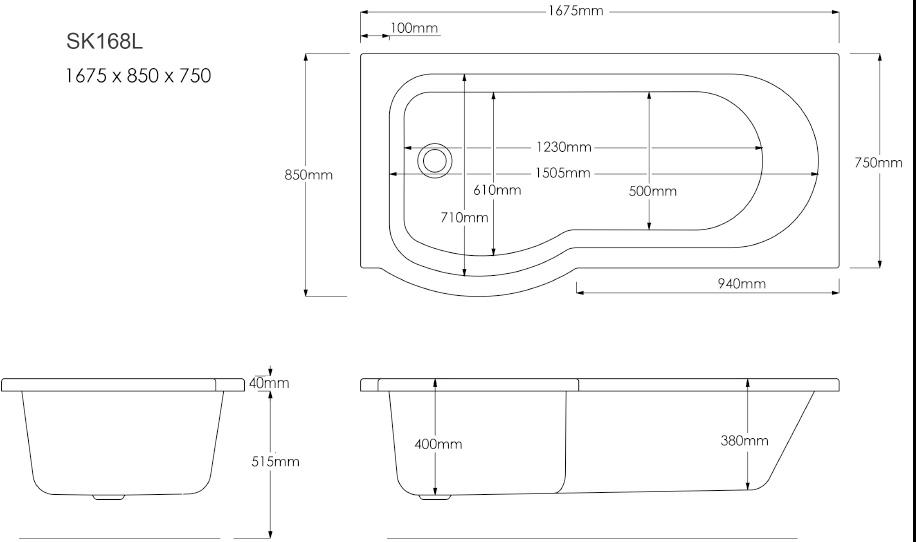 skali badewanne mit duschzone 167 5x85 75x40 cm links wei komplett set. Black Bedroom Furniture Sets. Home Design Ideas