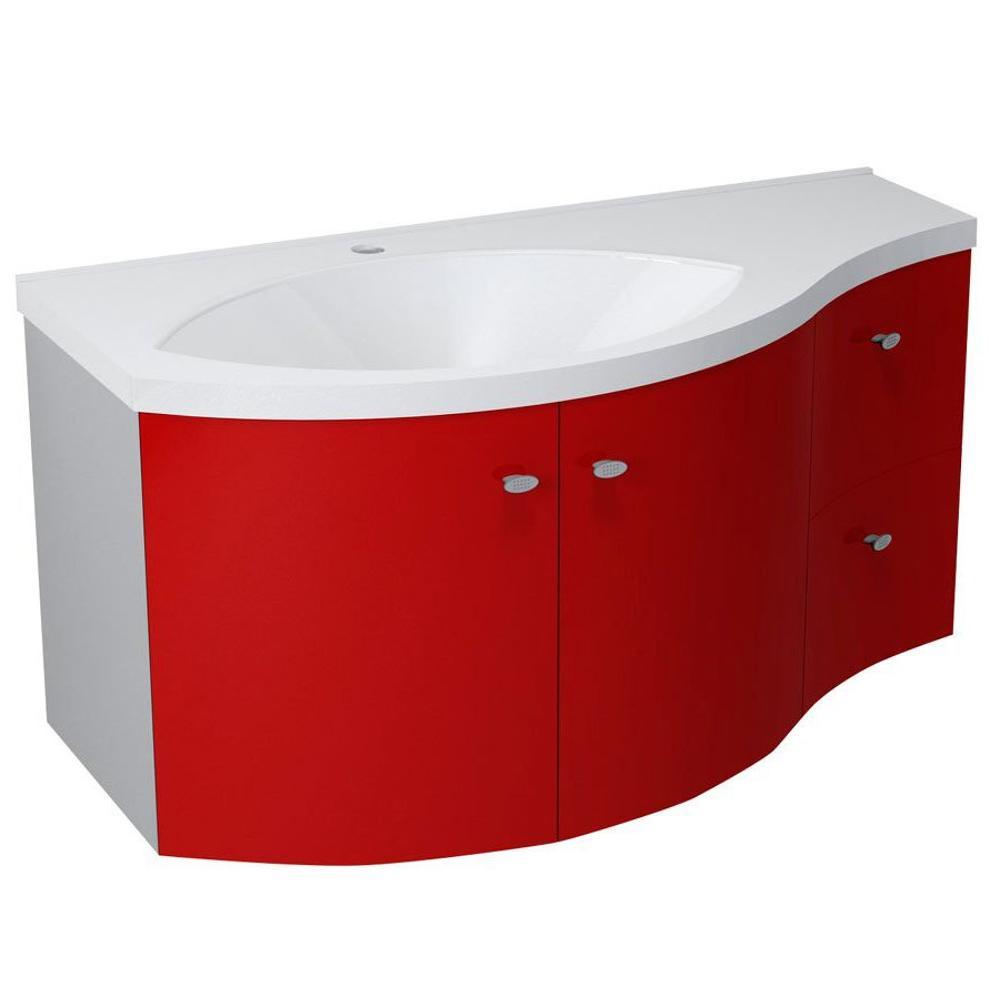 AILA Unterschrank 110x39cm, rot/silber, Schubladen rechts