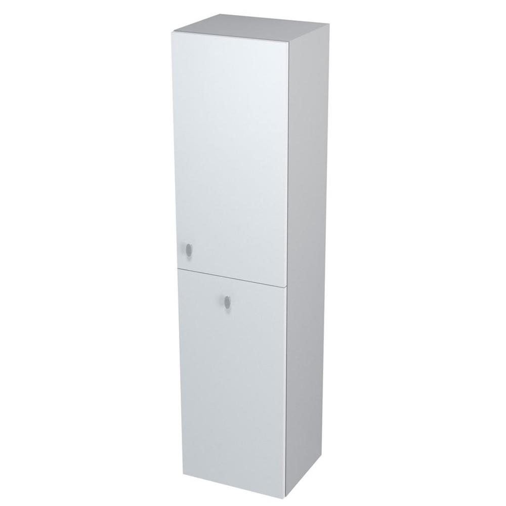 AILA Hochschrank mit Wäschekorb 35x140x30cm, rechts, weiß/silber