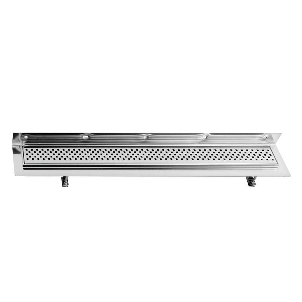 CORNER 970x130mm Duschrinne mit Rost und Wandanschluß, Edelstahl