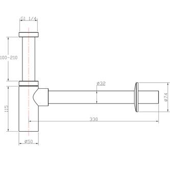 Waschtisch-Siphon 5/4', Durchmesser 32mm, rund, Chrom
