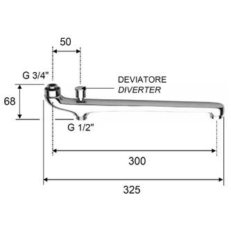 Wasserauslauf mit Umsteller, 30cm, flach, Chrom