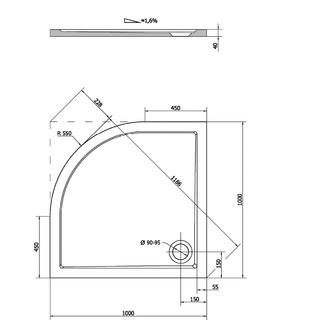 SERA Duschwanne, Viertelkreis 100x100x4cm, R550