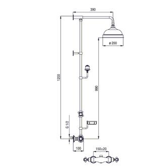 SASSARI Thermostat-Duschsäule mit Seifenschale Höhe 1200mm, bronze