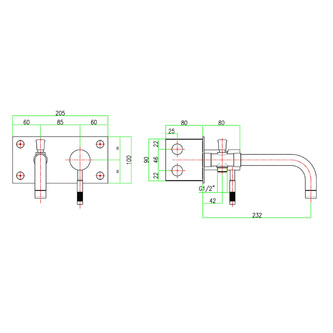 RHAPSODY Unterputz-Wannenarmatur, Einlauflänge 232mm, Chrom