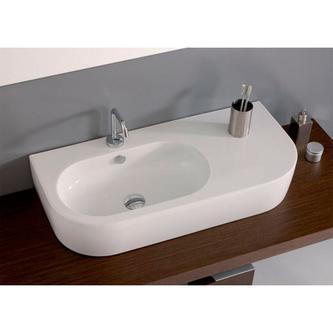 FLO Keramik-Waschtisch 90x42cm, mit Ablagefläche