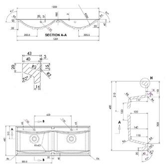 LUCIOLA Gussmarmor-Doppelwaschtisch 120x48cm, weiß