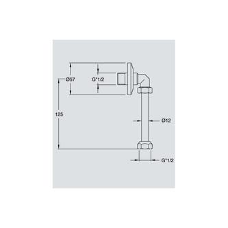 Urinal-Anschlussbogen mit Rosette und Rohr, Durchmesser 12mm, Chrom