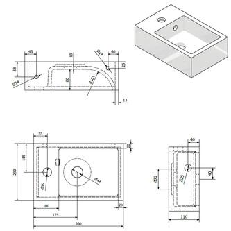 ALABAMA Gussmarmor-Waschtisch 36x11x23cm, links