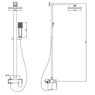 LATUS Duschsäule mit Armatur, 1183mm, Chrom