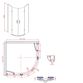 LEGRO Duschabtrennung Viertelkreis 1000x1000mm, Klarglas