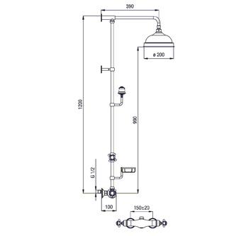 SASSARI Thermostat-Duschsäule mit Seifenschale, Höhe 1200mm, Chrom