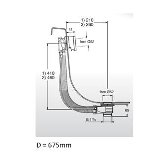 MODEL D6 Ablaufgarnitur mit Einlauf, Bowden, Länge 675mm, Stopfen 72mm, Chrom