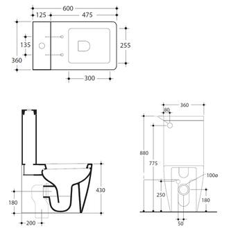 EGO Kombi-WC 36x43x60cm, Abgang senkrecht/waagerecht