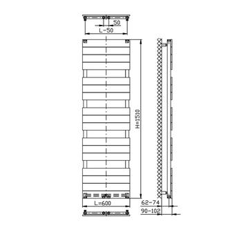 BONDI Badheizkörper 600x1510mm, Anthrazit