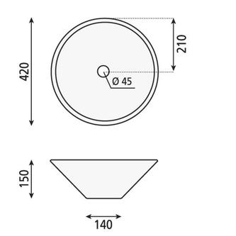 COMILLAS Keramik-Waschtisch, Durchmesser 42cm, zum Aufsetzen