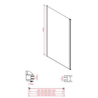 MODULAR SHOWER Glaswand (A) OHNE Drehtür, 900 mm