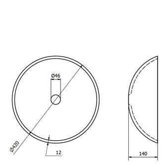 ICE Glaswaschtisch Durchmesser 42 cm