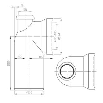 WC-Anschlussbogen 90° DN50