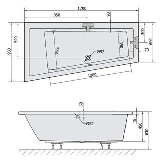 ANDRA L SLIM asymmetrische Badewanne 170x90x45cm, weiss