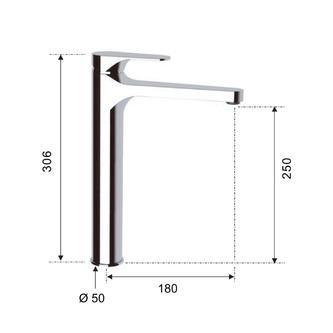 CORNELI Waschtischarmatur 306mm ohne Ablaufgarnitur, verlängerter Einlauf, Chrom