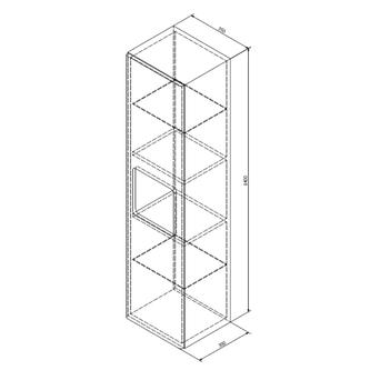 ELLA Hochschrank 35x140x30cm, 1x Tür, links/rechts, weiß