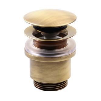 Verschließbare Ablaufgarnitur für Waschtische ohne Überlauf, H. 10-25mm, Bronze