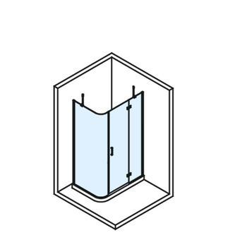 VITRA LINE Duschabtrennung Rechteck, Ecke abgerundet 1200x800mm, rechts,Klarglas