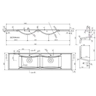 LUCIOLA Gussmarmor-Doppelwaschtisch 180x48cm, weiß