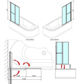 LANKA2 Duschabtrennung 82cm, Profil weiß, Klarglas