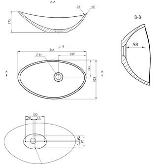 ROSSETA Gussmarmor-Waschtisch 56,4x32,3cm, weiß