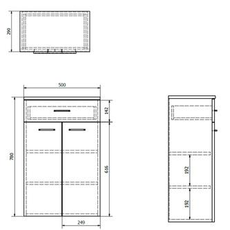 ZOJA/KERAMIA FRESH Unterschrank mit Schublade 50x78x29cm, platineiche