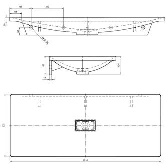 TONGA Gussmarmor-Waschtisch 121x13x50cm, weiß