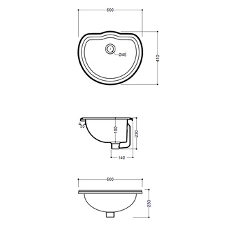RETRO Keramik-Waschtisch 50x41cm, zum Einbauen
