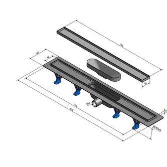 TILE Kunststoff-Duschrinne mit Edelstahl-Rost, zur Aufnahme von Fliesen, L=820mm