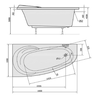 NAOS 180 L Badewanne mit Füßen 180x100x43cm, links, weiß