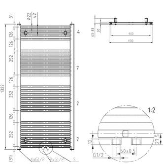 DIRECT Badheizkörper gerade, Mittelanschluss, 450x1322 mm, 539 W, weiß