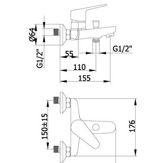 JAGO Wannenarmatur, Abstand 150mm,Chrom