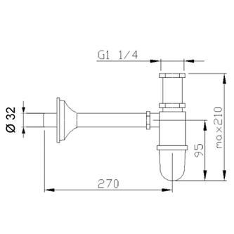 Waschtisch-Siphon 1'1/4, Abfluss 32mm, Gold