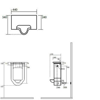 WALDORF Urinal 44x69x37cm, inkl. Siphon und Befestigungsset