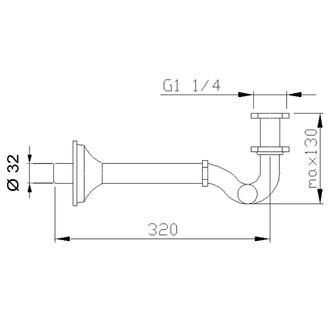 Bidet-Siphon 1'1/4, Abfluss 32mm, Chrom