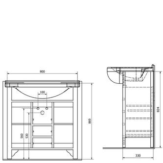 GALANTA ORCHIDEA Unterschrank 80x82x33cm, massiv