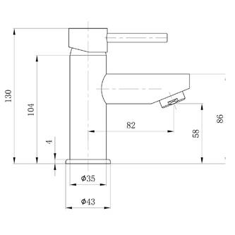 SMALL Waschtischarmatur ohne Ablaufgarnitur, 130 mm, Chrom